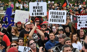 Fans of the US rap group Insane Clown Posse, known as Juggalos, assemble on September 16, 2017 near the Lincoln Memorial in Washington, D.C. to protest at a 2011 FBI decision to classify their movement as a gang. / AFP PHOTO / PAUL J. RICHARDSPAUL J. RICHARDS/AFP/Getty Images