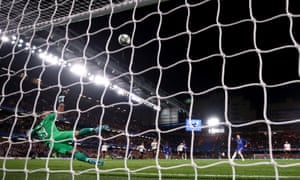 Chelsea's Ross Barkley misses from the penalty spot as Valencia's Jasper Cillessen watches the ball hit the bar and go over.