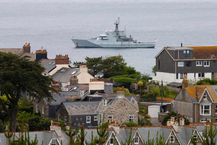 A Navy ship off the coast of St Ives, Cornwall, before the G7 Summit.
