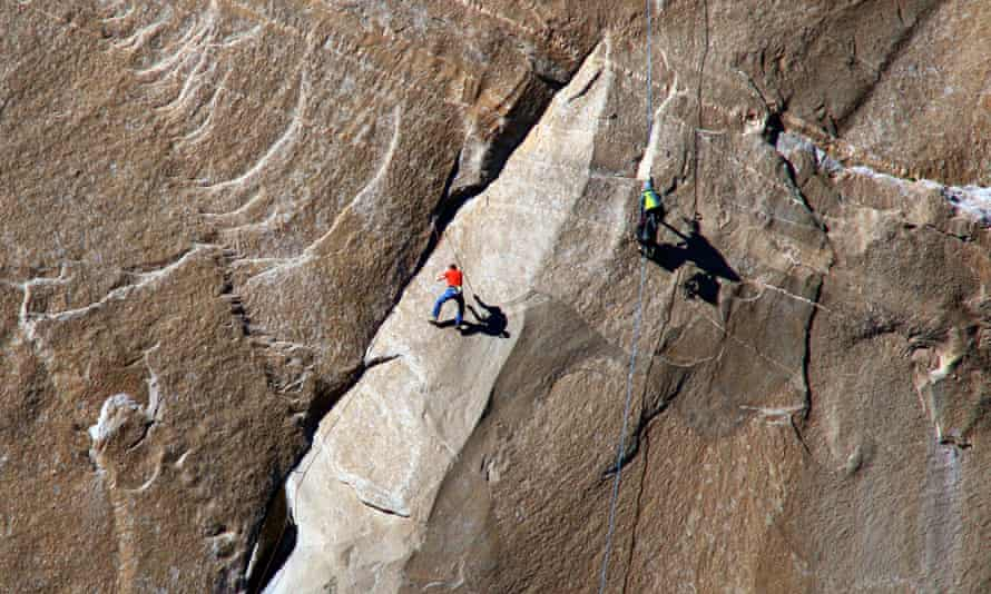 A climber ascends what has been called the hardest rock climb in the world: a free climb of a El Capitan.