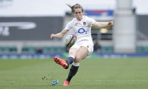 Emily Scarratt kicks her last-minute penalty to give England victory against France