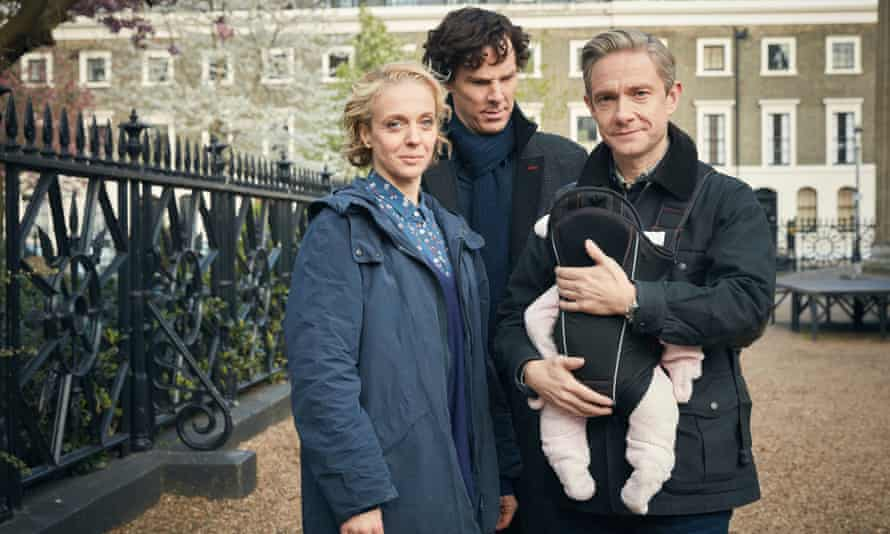Benedict Cumberbatch as Sherlock Holmes, Amanda Abbington as Mary Watson and Martin Freeman as Dr John Watson in Sherlock.