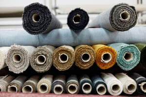 Rolls of fabric include canvas, wool, velvet and boucle.