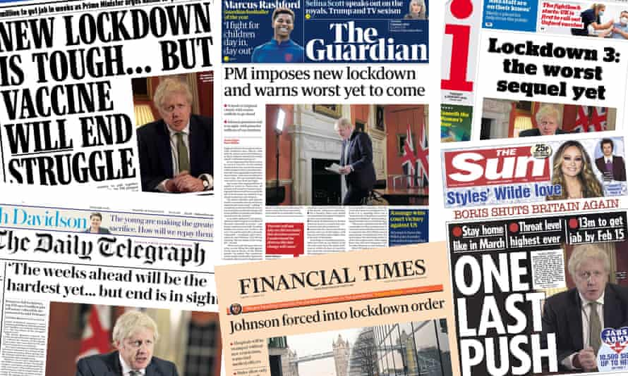 Front pages of the UK papers on Tuesday 5 Jan 2021 as a lockdown is again imposed on England in an attempt to slow the spread of coronavirus.