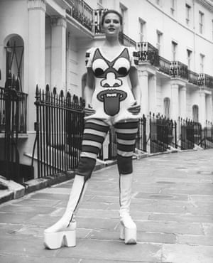 In your face … Coon modelling a Kansai Yamomoto jumpsuit in 1971.