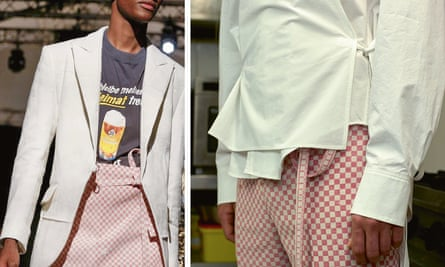 Amelie Marie Gaydoul makes menswear from old table clothes and napkins.