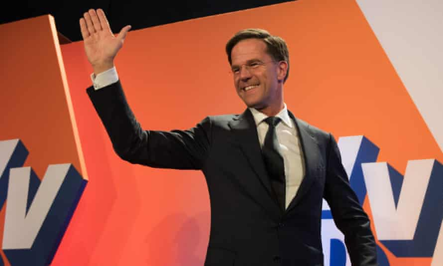 Mark Rutte makes a speech after exit polls indicated his party would take the largest number of seats in the Dutch parliament