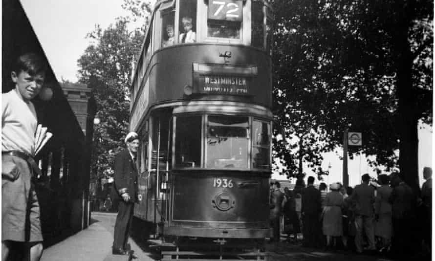 Colin O'Brien's photograph of one of the last trams to run in London in 1952