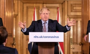 Prime Minister Boris Johnson during a media briefing in Downing Street, London, on coronavirus.