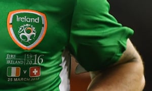 The badge and wording worn by Republic of Ireland players in the March 2016 friendly against Switzerland