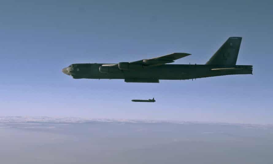 An unarmed nuclear cruise missile is released in a training mission over Utah. New Start limits US and Russian strategic warheads to 1,550 each.