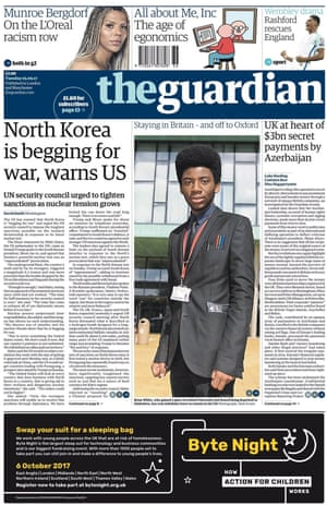 Guardian front page, 5 September 2017.