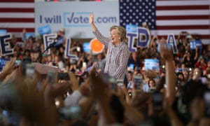 Democratic presidential candidate Hillary Clinton speaks during a campaign rally on Friday in Coral Springs, Florida.