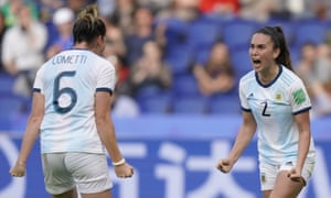 Argentina's defender Agustina Barroso (R) celebrates with Aldana Cometti at the end of the match.