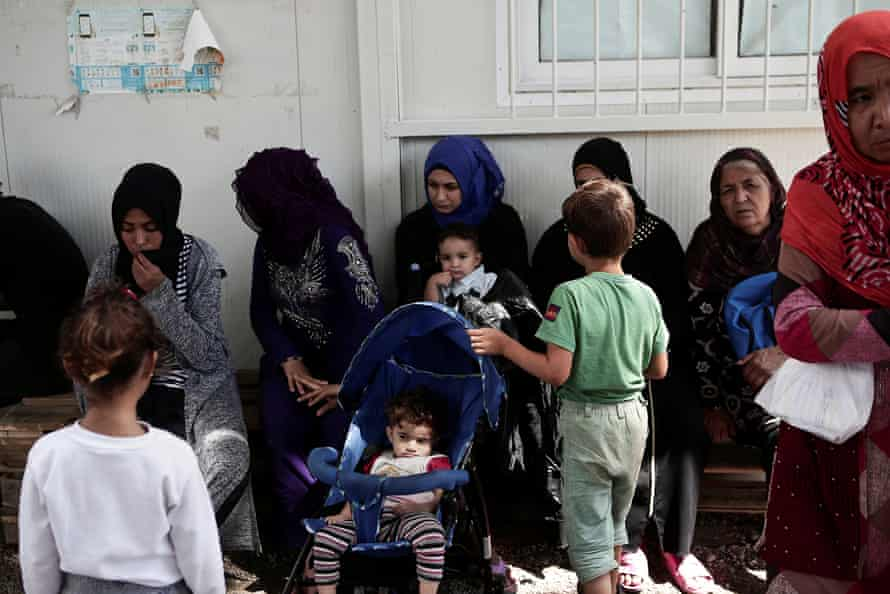 Women and children at the Moria camp.