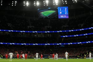 The scoreboard makes for sad reading for Tottenham as they wait to get play underway after conceding their seventh goal.