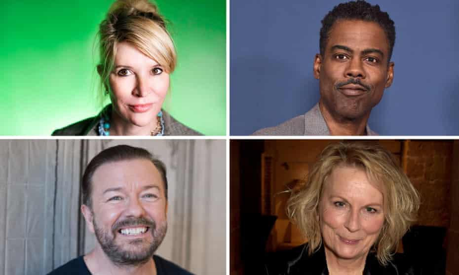 In fine form ... Julia Davis, Chris Rock, Ricky Gervais and Jennifer Saunders.