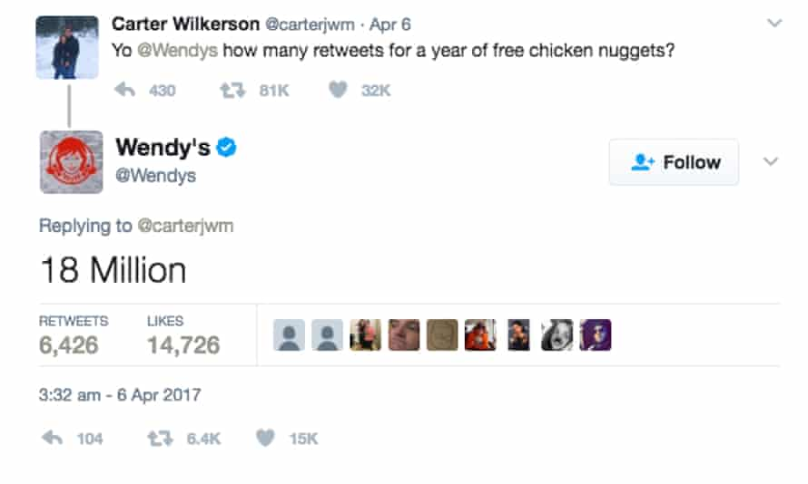 This teen now has one of the most retweeted tweets of all time after asking Wendy's for free nuggets.
