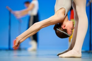 Lausanne, Switzerland: A dancer warms up on stage before the final of the 47th Prix de Lausanne