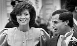 Franco Columbu and Caroline Kennedy at Arnold Schwarzenegger and Maria Shriver's wedding in Hyannis in 1986.