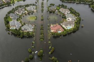 Houston, US: Floodwaters fill the road running through the Lakes On Eldridge North subdivision after Tropical Storm Harvey