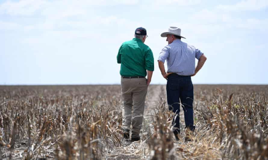 Prime minister Scott Morrison visits drought affected farm in Queensland.