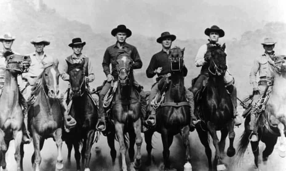 The Magnificent Seven (left to right): Steve McQueen as Vin, James Coburn as Britt, Horst Buchholz as Chico, Yul Brynner as Chris Adams, Brad Dexter as Harry Luck, Robert Vaughn as Lee and Charles Bronson as Bernardo O'Reilly.