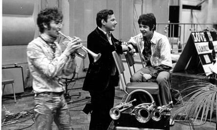 Members of the Beatles at Abbey Road studios in 1967.