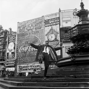 Mike Eghan at Picadilly Circus, London, 1967