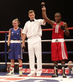 Nicola Adams is victorious at the first ever GB Amateur Boxing Championships at the  Echo Arena in Liverpool - defeating Lynsey Holdaway