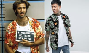 (From left) Nicholas Cage in Raising Arizona; Vans Daintree Hawaiian shirt in black, £50, Asos.