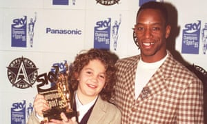 Sonny Pike poses with Ian Wright after being named the 'Sun Schools Champion' for football in 1995.