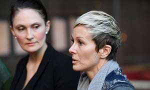 Joanne Maninon, right, a member of the class action against Johnson & Johnson, and lawyer Rebecca Jancauskas, address the media outside the federal court in Sydney on Tuesday.