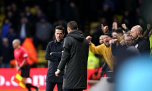 Agony for Marco Silva as Watford fans celebrate.