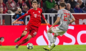 Thomas Müller, in action here against Olympiakos, suggested he would be open to leaving Bayern.