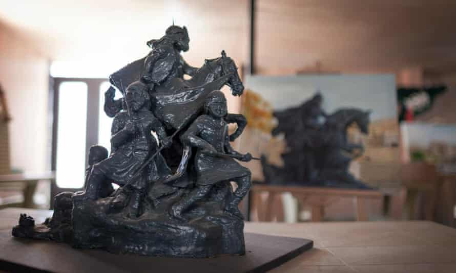 A statue of Saladin from Damascus displayed at the community centre in Zaatari