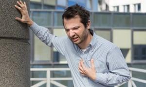 Man feeling pain in chest