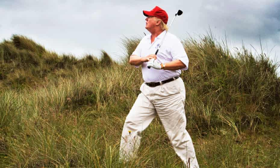 Trump playing on his original course on the Menie estate, Aberdeenshire.