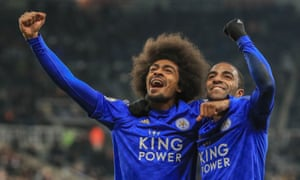 Leicester City's Hamza Choudhury celebrates scoring his side's third goal.