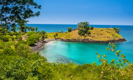 Island in the sun: the turquoise waters of Lagoa Azul in northern São Tomé e Principe, Africa.