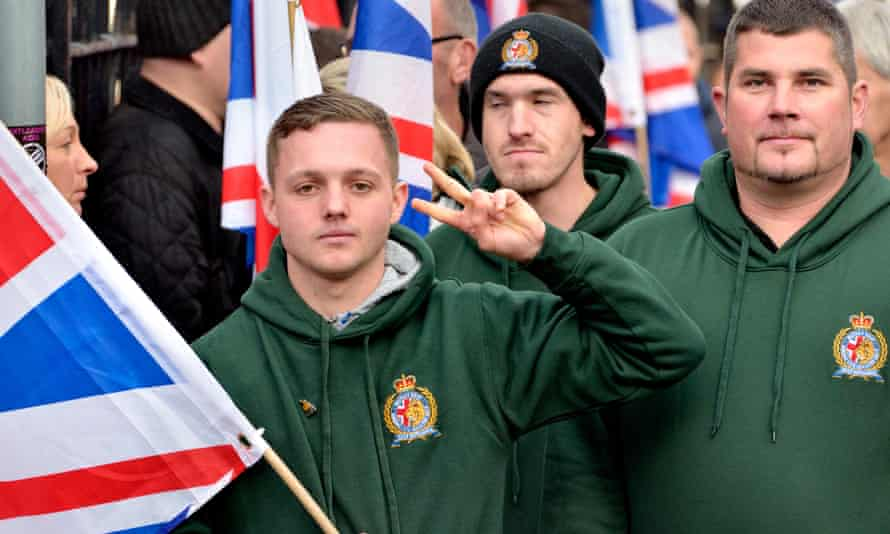 Britain First supporters march in Rochester, Kent.