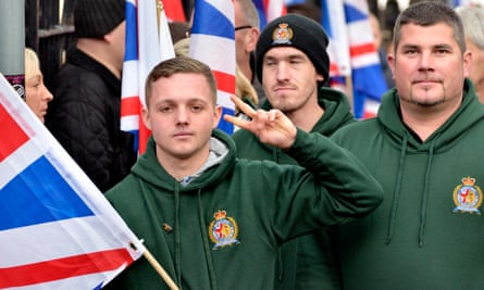 Members of Britain First, the far-right counter-jihad street protest group, march in Rochester, Kent