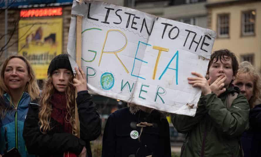 Supporters of Greta Thunberg, Bristol 2020.