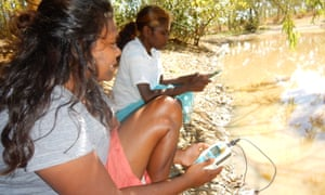 Ngukurr project members Melissa Wurramarrba and Francine Hall monitor water quality at Costello billabong.