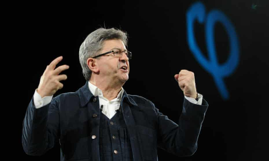 Jean-Luc Mélenchon delivers a speech at a campaign rally in Rennes.