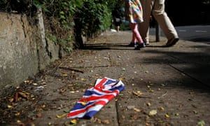 A British flag on the ground
