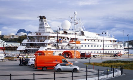 SeaDream 1 at the quay in Bodoe, Norway, on 5 August.