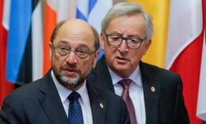 Schulz and Juncker, who infuriated MEPs by suggesting his friend should stay until 2019.
