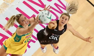 Caitlin Bassett in action for the Australian Diamonds