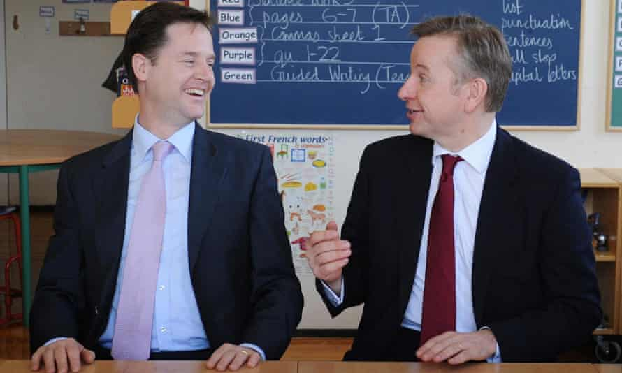 Clegg and Gove learning to work together on a school visit. Photograph: Stefan Rousseau/PA